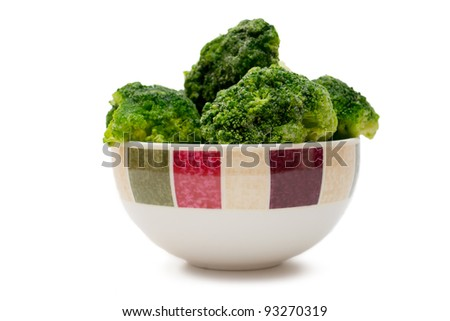 frozen broccoli in a bowl on white background