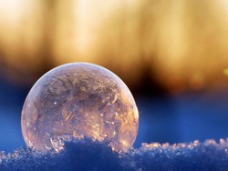 Frozen bubble at sunset light