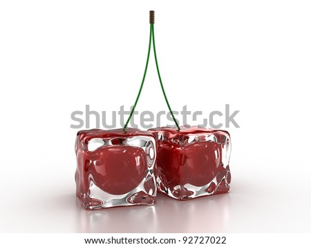 Frozen cherries inside an ice cube on a white background
