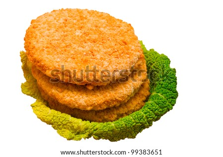 frozen chicken burgers isolated on white  background
