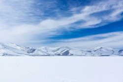Frozen Cildir Lake in Kars Province to Turkey