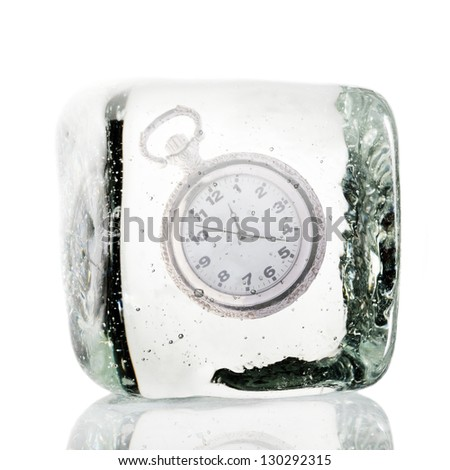 Frozen clock in a block of ice