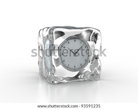 Frozen clock inside an ice cube on a white background