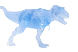 Frozen dinosaurs isolated on white background. tyrannosaurus rex dinosaurs toy. clipping path.