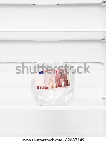 Frozen Euro Bank-note in a fridge