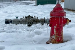 Frozen fire hydrant , winter storm 2021, Austin, TX