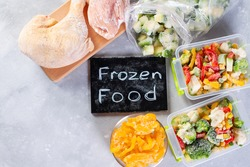 Frozen food, vegetables and meat. Place for text. Copy space. Top view
