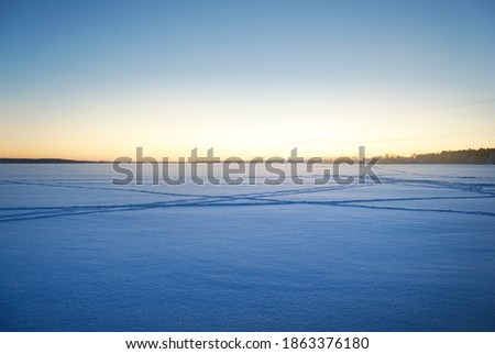 Frozen forest lake at sunrise, trees in a hoarfrost, ski and human tracks in a fresh snow. Idyllic rural scene. Clear blue sky, golden sunlight. Nature, ecology, global warming, Christmas themes