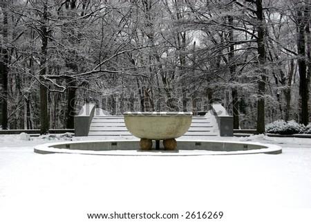 Frozen Fountain at President Theodore Roosevelt Island in Washington DC