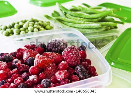 Frozen fruits and vegetables - stock photo