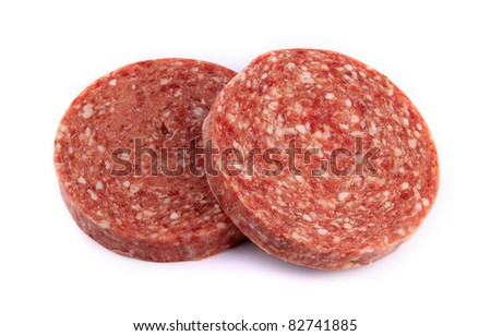 Frozen hamburger patties against white background