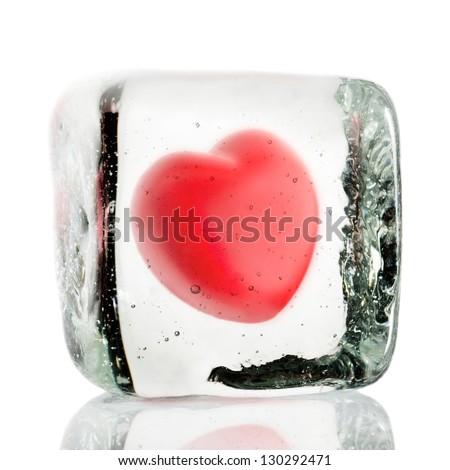 Frozen heart in a block of ice