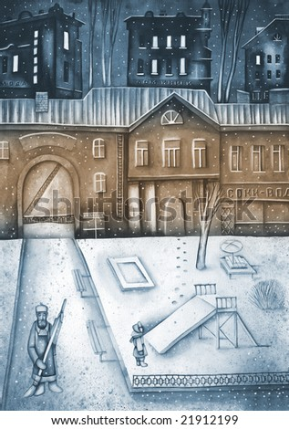 Frozen house and street at the winter. Illustration by Eugene Ivanov.