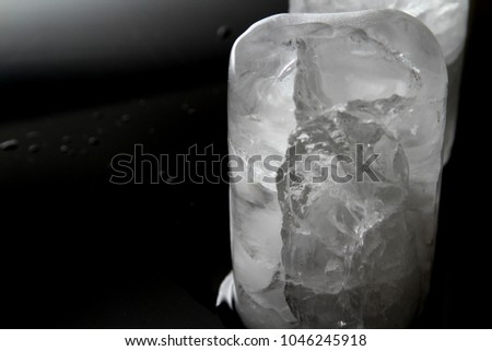 Frozen ice as background / Ice is water frozen into a solid state. it can appear transparent or a more or less opaque white color #1046245918