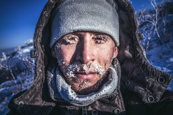 Frozen, ice-covered face