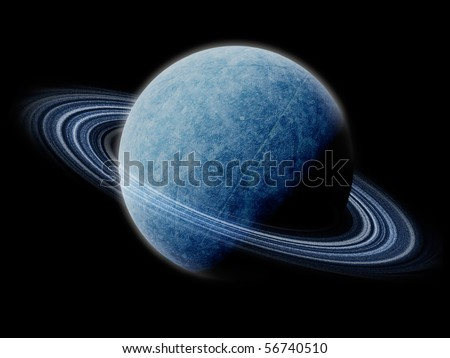 Frozen Ice Planet with Rings, Isolated
