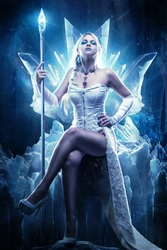 Frozen, ice queen, winter woman with scepter on ice throne