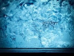 Frozen ice texture on the window