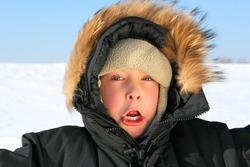 frozen kid on the hard frost