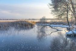 Frozen lake at sunrise. Saadjarv, Estonia - 02/DEC/2014