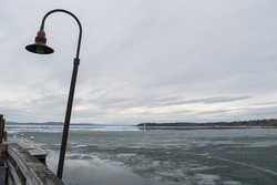 Frozen Lake Champlain in Burlington, Vermont, USA