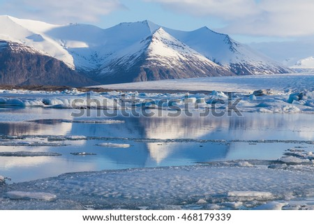 Frozen lake Jokulsarlon Glacial during late winter, Iceland natural landscape #468179339