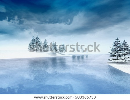 frozen lake with trees and cloudy sky, winter season lake scenery 3D illustration
