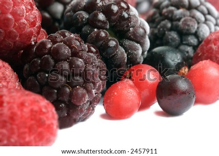 frozen mixed berries - stock photo