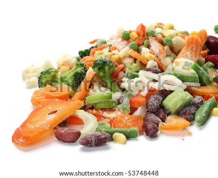 Frozen mixed vegetables with ice