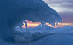 Frozen moment of wave curving over the sea ice. Aqua blue color inside the curves. Sunset orange sky through the curve. Teeth like icicles.