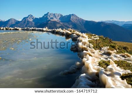 Frozen mountain lake in Val di Scalve, Alps montains, Italy #164719712
