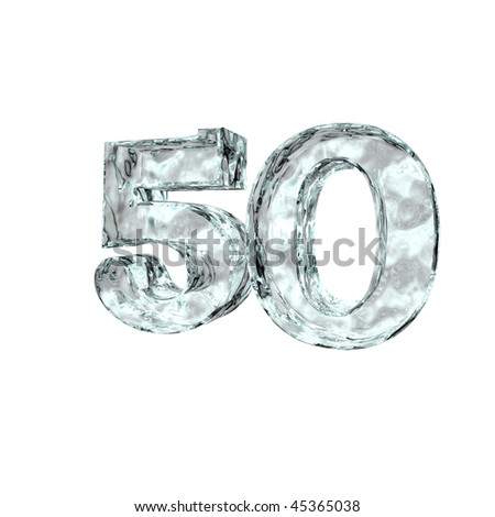 frozen number fifty - 50 - on white background - 3d illustration
