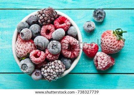 Frozen or frosted berries in a bowl. Frozen berries