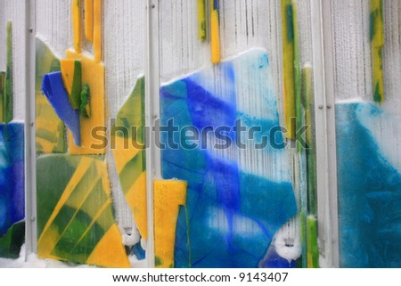 Frozen Panels of Colored Ice Looks Like Paintings Below Zero, Millennium Park, Chicago