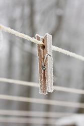 frozen peg on a clothesline