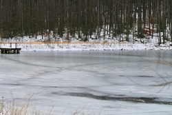 Frozen pond in Coopers Rock State Forest, Morgantown, West Virginia