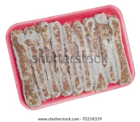 Frozen Pork Sausage Links with Frost Isolated on White with a Clipping Path.