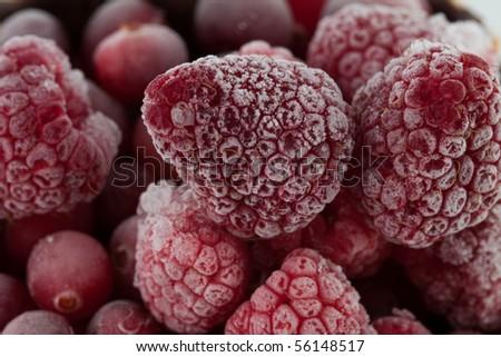 Frozen Raspberries- soft focus/selective focus