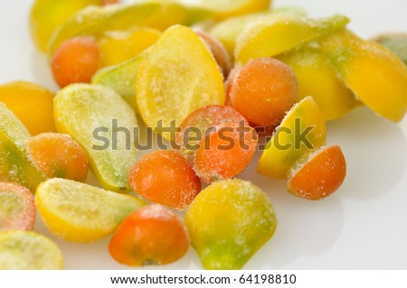 frozen red and yellow tomatoes