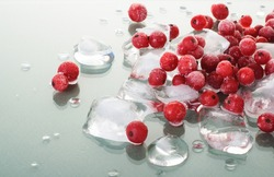 frozen red currants and ice cubes on green glossy background.juicy frozen red berries