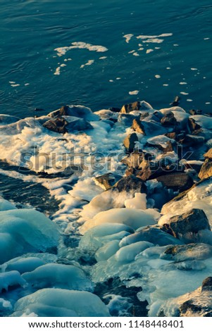 Frozen river in winter #1148448401
