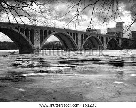 Frozen River - Washington, DC: Key Bridge over a frozen Potomac River