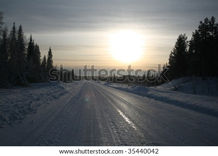 Frozen road in Northern Sweden