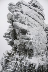 Frozen rock mountains stone winter