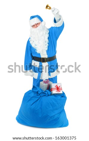 Frozen Santa claus with attributes on white background
