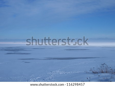 Frozen sea surface with some thawed areas