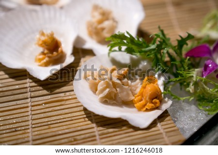 Frozen seafood cooked scallops