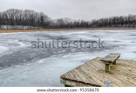 Frozen Sister Lake in winter