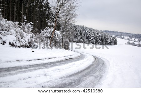frozen snowy road