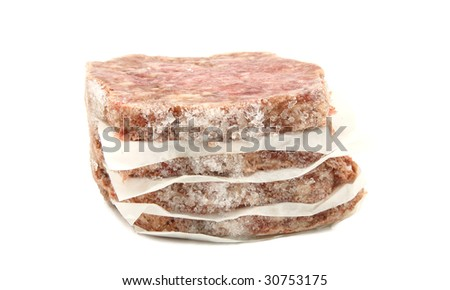 Frozen Stack Of Hamburgers Isolated